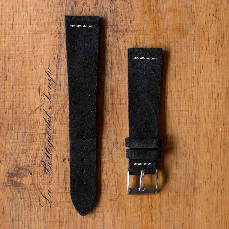 Correa Vintage M3 de piel de Ante Negro 20mm
